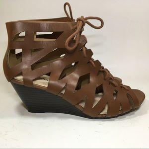 Women's brown wedge gladiator sandals sz 8